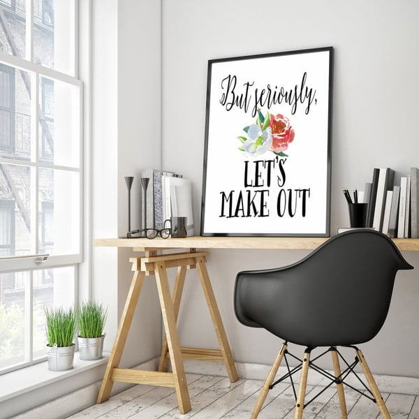 Plakát v dřevěném rámu Let´s make out, 38x28 cm