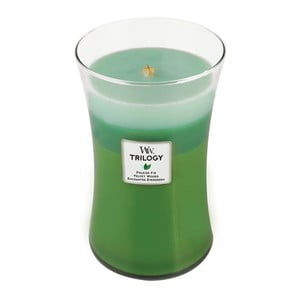 Lumânare parfumată WoodWick Trilogy, aromă de lemn de brad și citrice, 130 ore