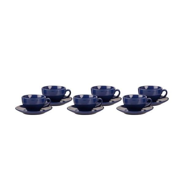 Sada 6 šálků s podšálky Kaleidos, modrá