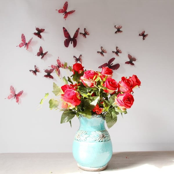 Sada 18 červených adhezívnych 3D samolepiek Ambiance Butterflies Chic