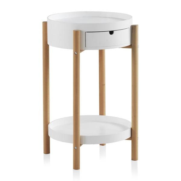 Biły stolik z szufladą i nogami z drewna bukowego Geese Nordic Style Malo