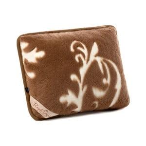 Hnědý vlněný polštář z velbloudí vlny Royal Dream Cappucino and Chocolate, 50x60 cm