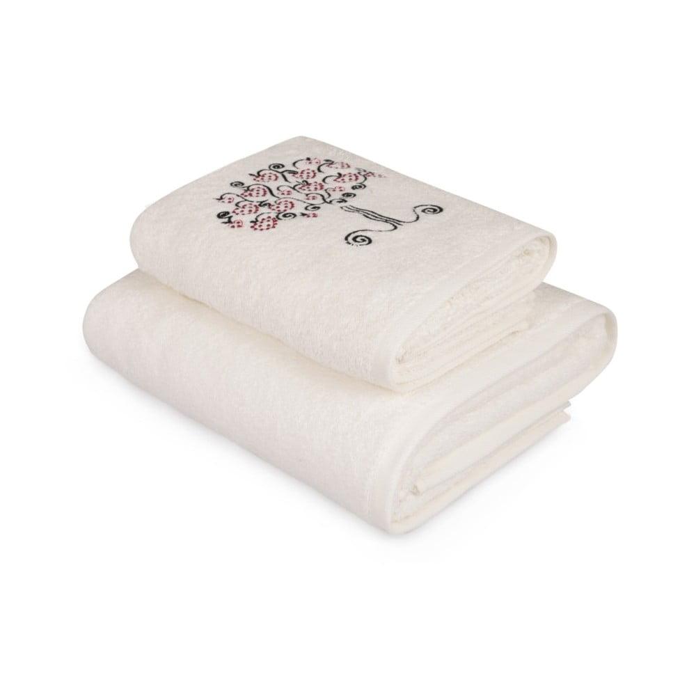 Set bílého ručníku a bílé osušky s barevným detailem Arbre