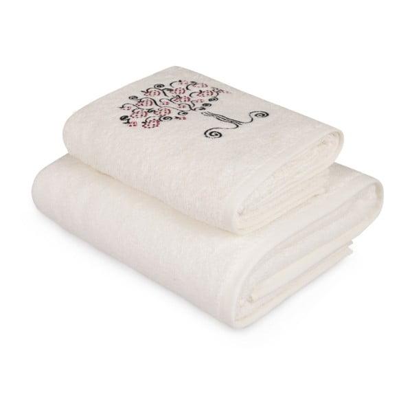 Arbre fehér törölköző és fürdőlepedő szett színes elemmel