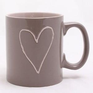 Ručně zdobený hnědý keramický hrnek Dakls Heart Dark, 0,5 l