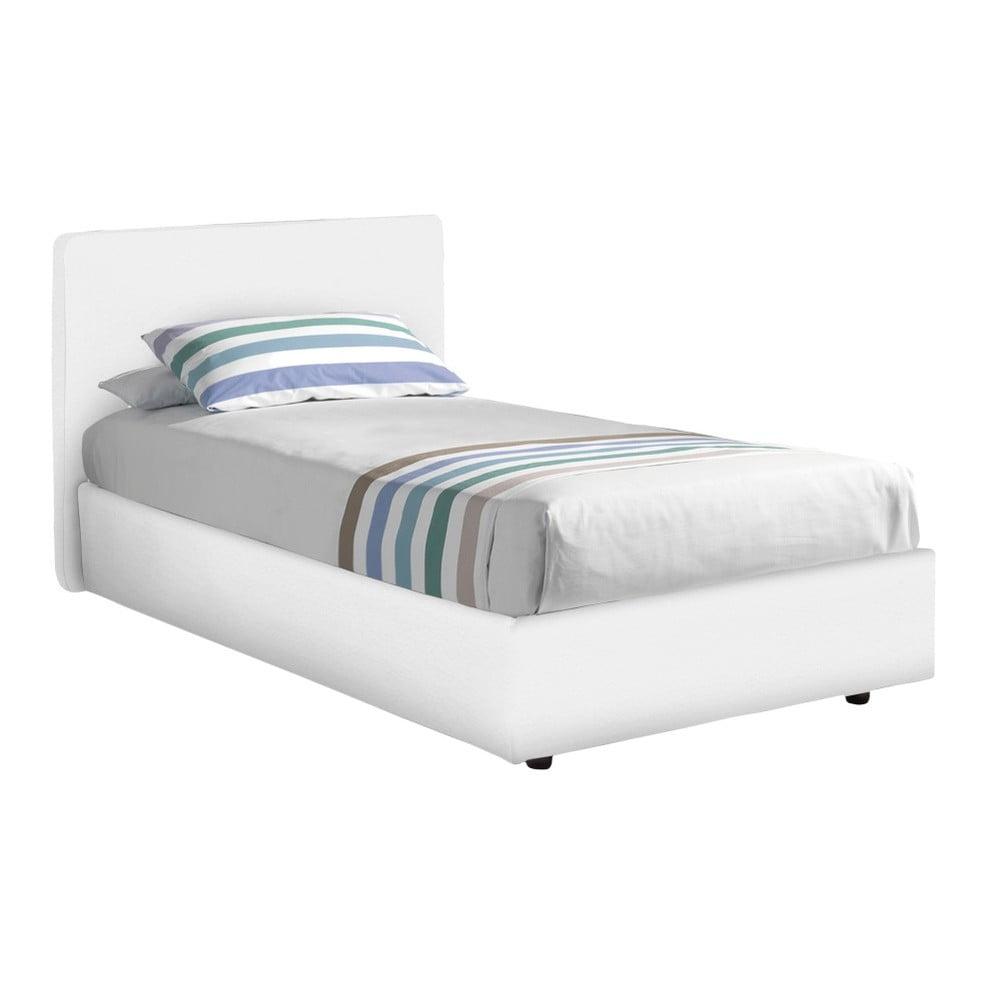 Bílá jednolůžková postel s potahem z eko kůže 13Casa Ninfea, 80 x 190 cm