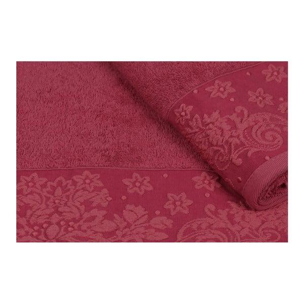 Sada 2 červených ručníků z čisté bavlny Simple, 90 x 150 cm