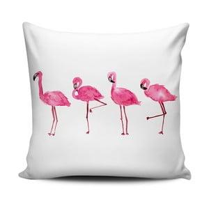 Růžovobílý polštář Home de Bleu Painted Flamingos, 43x43cm
