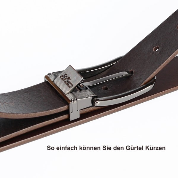 Pánský kožený pásek 3PJ30 Cognac, 120 cm
