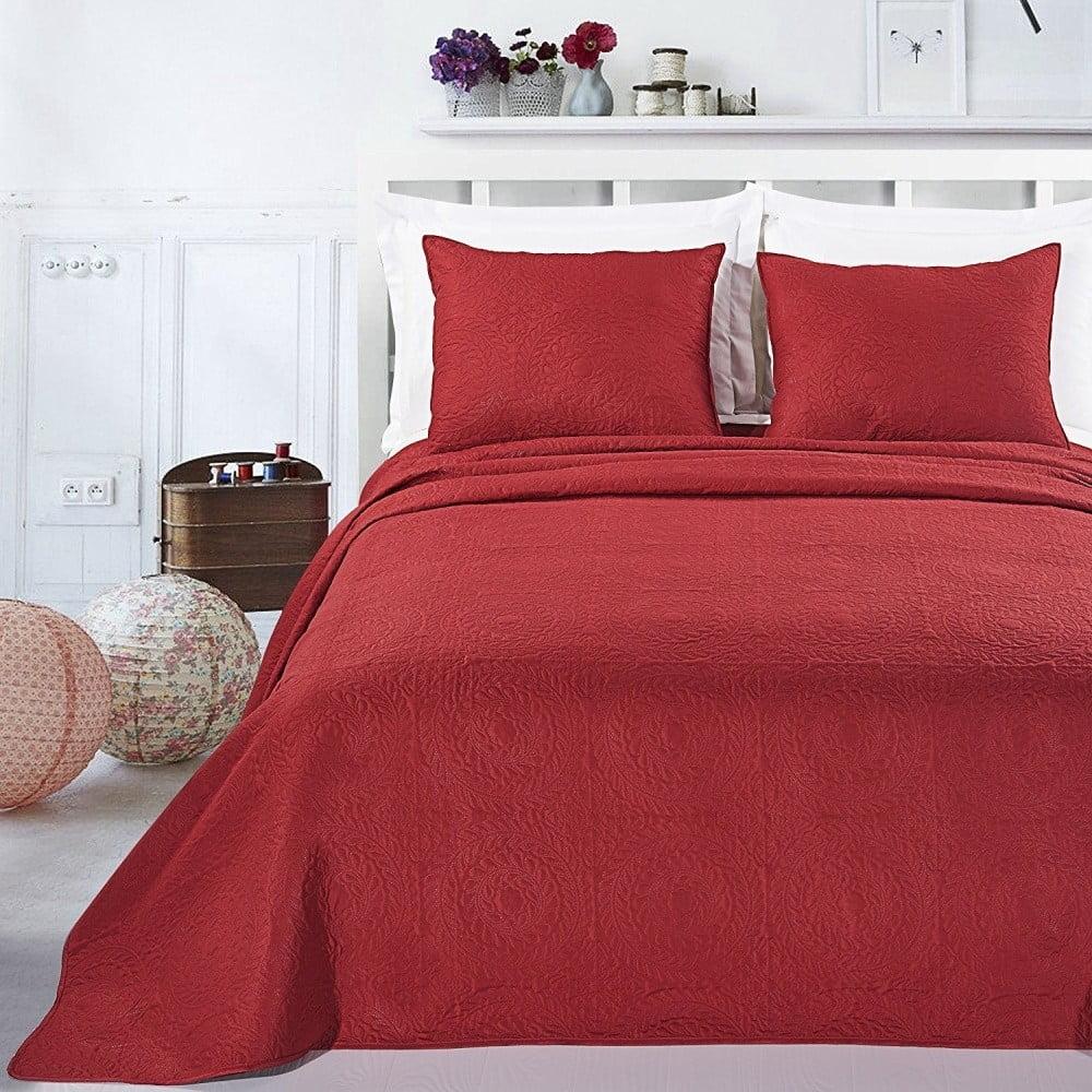 Červený set povlaku na polštáře a přehozu z mikrovlákna DecoKing Elodie, 170 x 210 cm