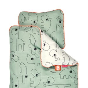 Lenjerie de pat pentru copii Done By Deer Contour, 80 x 100 cm, verde