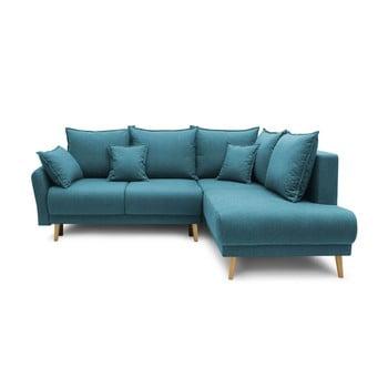 Colțar extensibil cu șezlong pe partea dreaptă Bobochic Paris Mia L, albastru turcoaz imagine