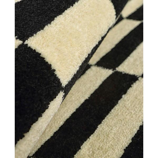 Vlněný koberec Oslo no.2, 140x200 cm, černý