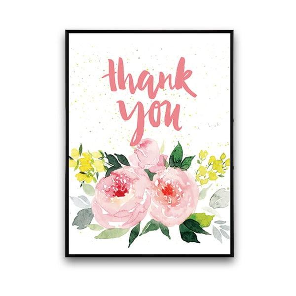 Plakát s růžovými květinami Thank You, 30 x 40 cm
