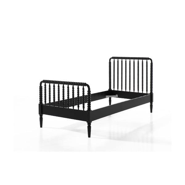 Czarne łóżko dziecięce Vipack Alana, 90x200 cm