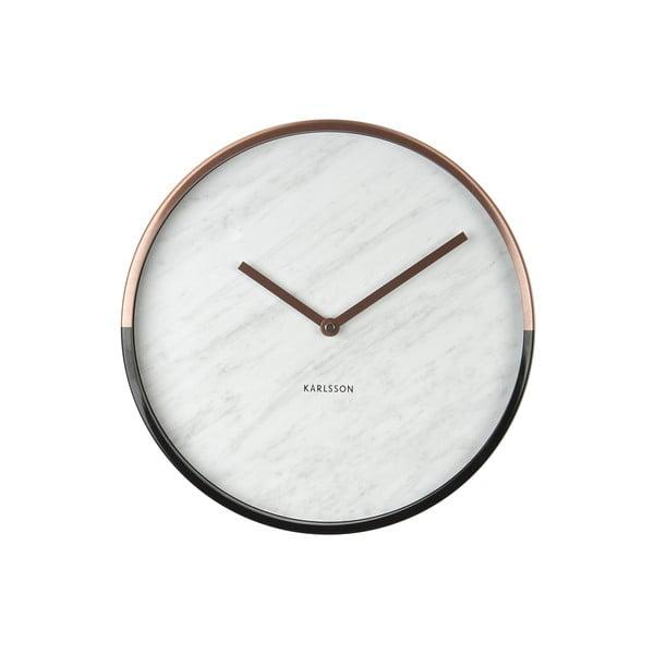 Hodiny Present Time Marble Delight White