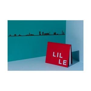 Černá nástěnná dekorace se siluetou města The Line Lille XL