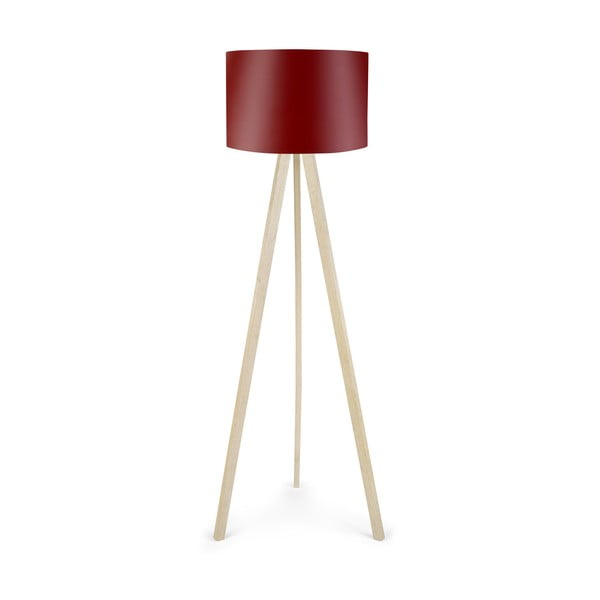 Volně stojící lampa s vínově červeným stínidlem Polly