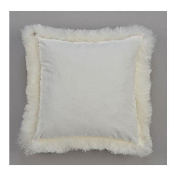 Bílý kožešinový polštář s krátkým chlupem, 35x35cm