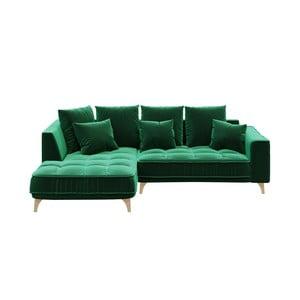Tmavě zelená třímístná pohovka devichy Chloe, levý roh