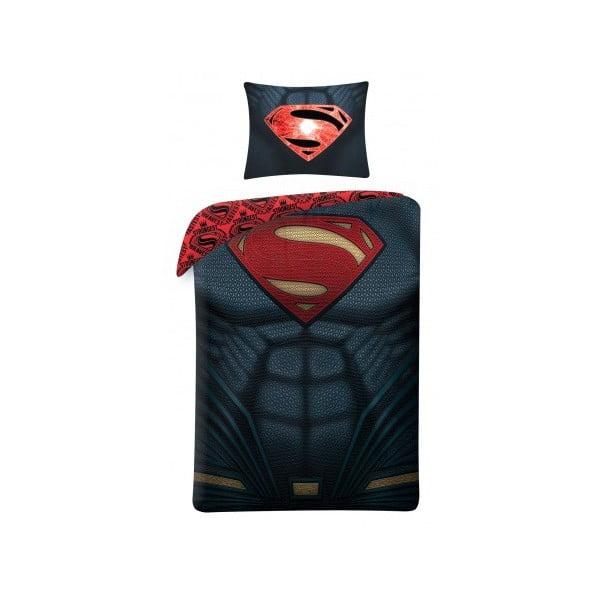 Lenjerie de pat din bumbac pentru copii Halantex Superman, 140 x 200 cm, negru