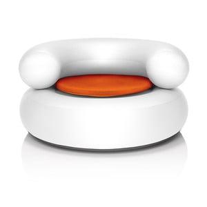Fatboy nafukovací křeslo CH-AIR, bílé s oranžovým polštářem