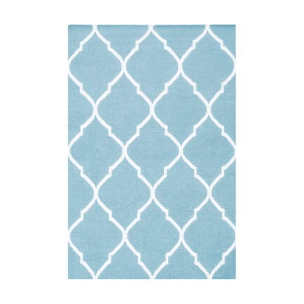 Světle modrý vlněný koberec Bakero Caroline, 120x80cm