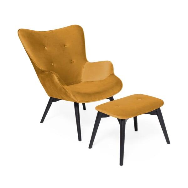 Musztardowy fotel z podnóżkiem i nogami w ciemnej barwieVivonita Cora Velvet
