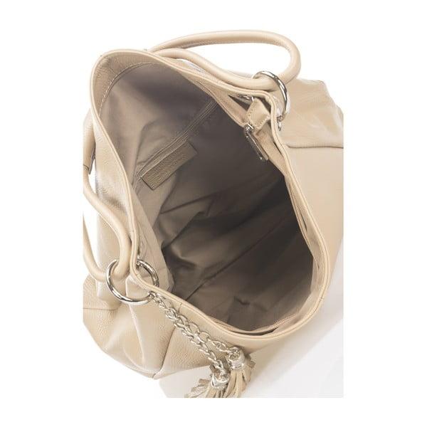 Béžová kožená kabelka Lisa Minardi Shaan