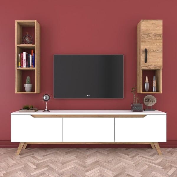 Zestaw białej komody pod TV, półki i szafki w dekorze drewna