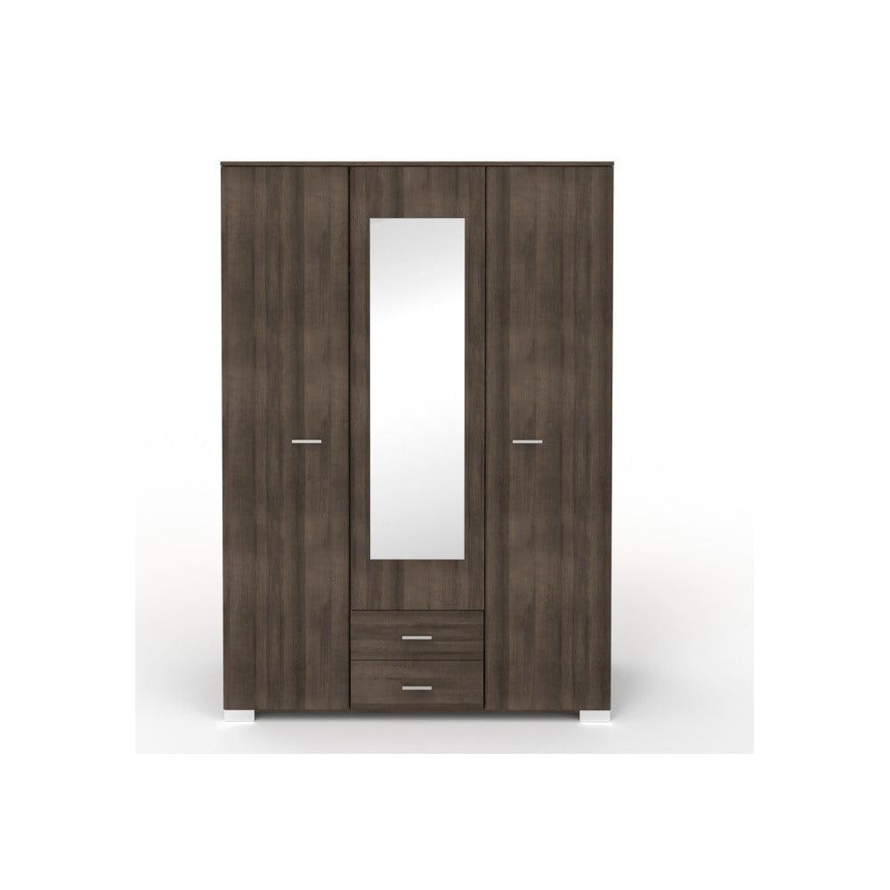 Třídveřová šatní skříň v dekoru ořechového dřeva se 2 zásuvkami a zrcadlem Parisot Alix
