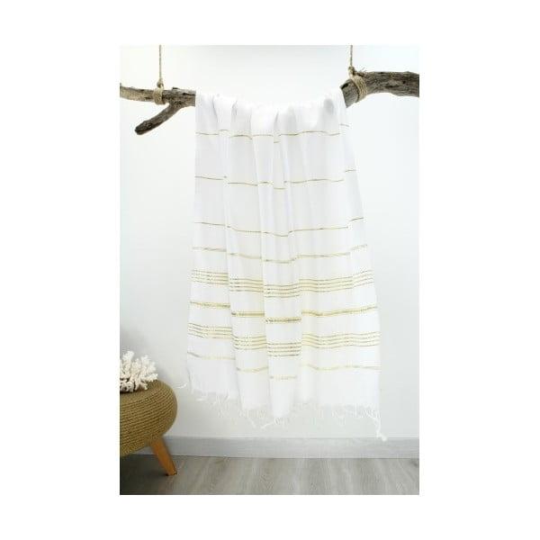 Bílo-zlatá Hammam osuška Classic Style, 100 x 180 cm