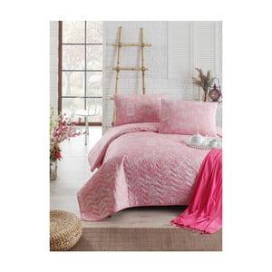 Cuvertură subțire cu față de pernă Pretty, 160 x 220 cm, roz