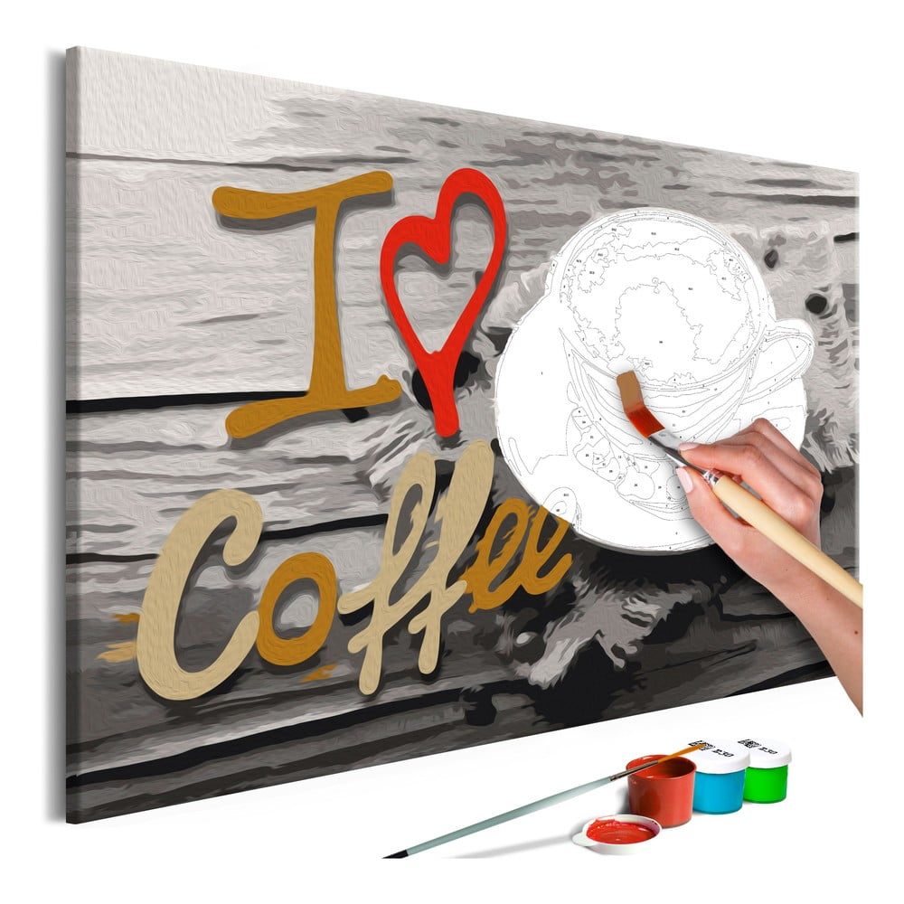 DIY set na tvorbu vlastního obrazu na plátně Artgeist I Love Coffee, 60x40 cm