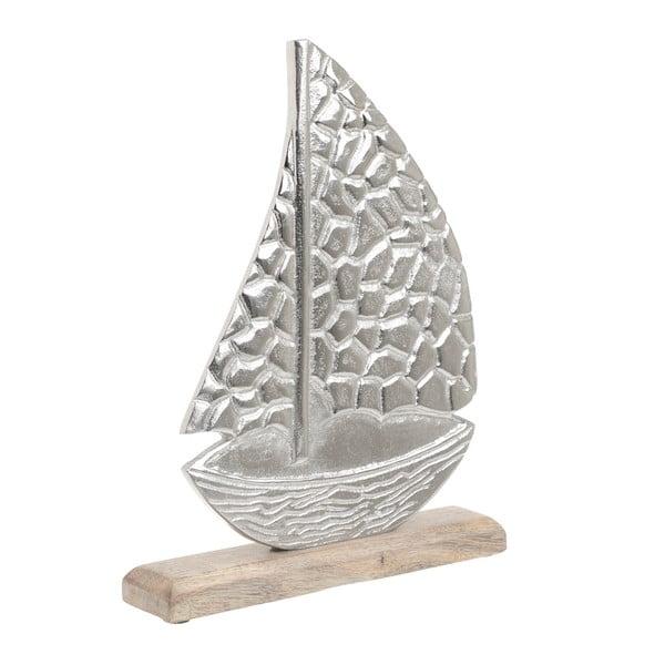 Dekorace ze dřeva a kovu ve tvaru lodi InArt, 25 x 32 cm