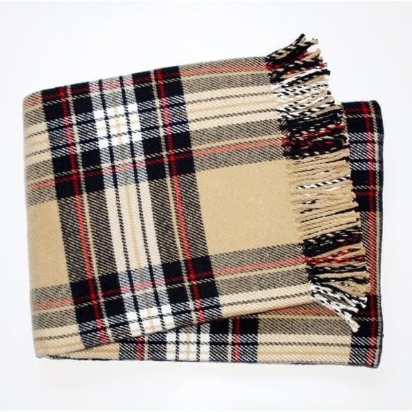 Beżowy koc w kratę z dodatkiem bawełny Euromant Scott, 140x180 cm