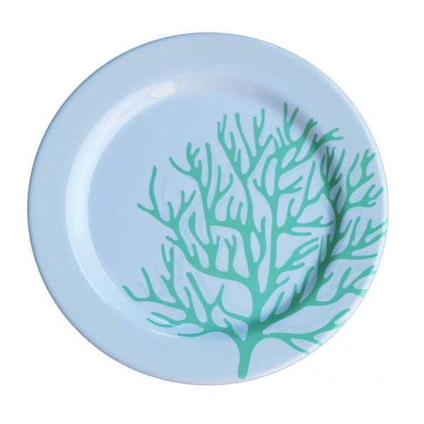 Sada 6 melaminových talířů Sunvibes Corail Bleu, Ø 25 cm