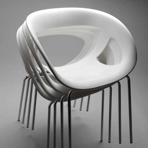 Set 2 zelených židlí Moema, chromové nohy