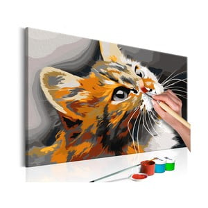 DIY set na tvorbu vlastního obrazu na plátně Artgeist Red Cat, 60x40 cm