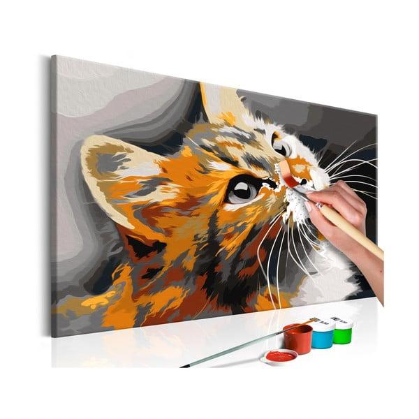DIY set na tvorbu vlastného obrazu na plátne Artgeist Red Cat, 60 × 40 cm