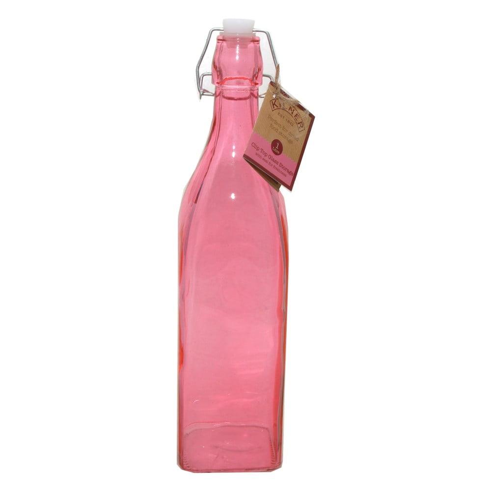 Lahev s klipem Kilner 1000 ml, růžová