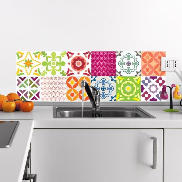 Set 12 autocolante de perete Ambiance Elegant Tiles, 10 x 10 cm