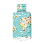 Dětské povlečení na jednolůžko z čisté bavlny Good Morning World Map, 140x200cm