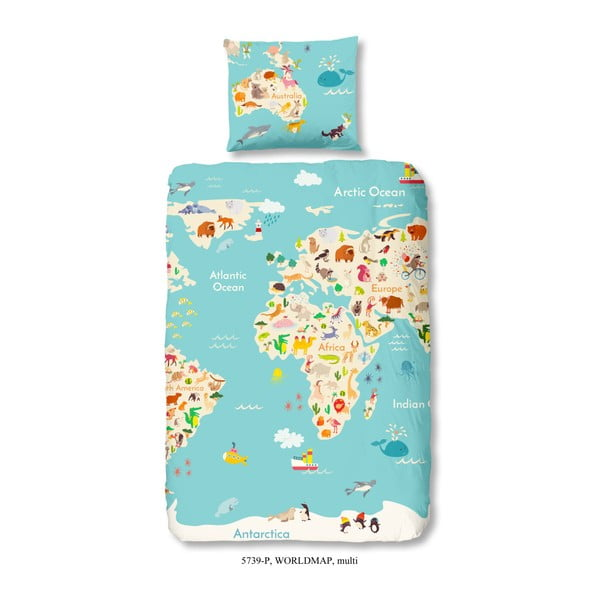 Dětské bavlněné povlečení na jednolůžko Good Morning World Map, 140x200cm