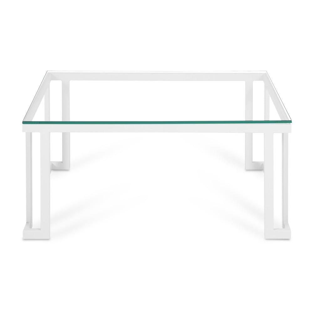 Skleněný venkovní stůl v bílém rámu Calme Jardin Cannes, 60 x 90 cm
