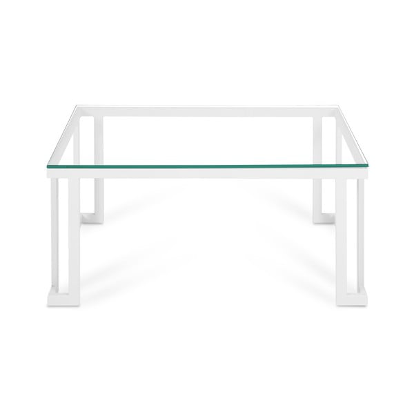 Sklenený exteriérový stôl v bielom ráme Calme Jardin Cannes, 60 x 90 cm