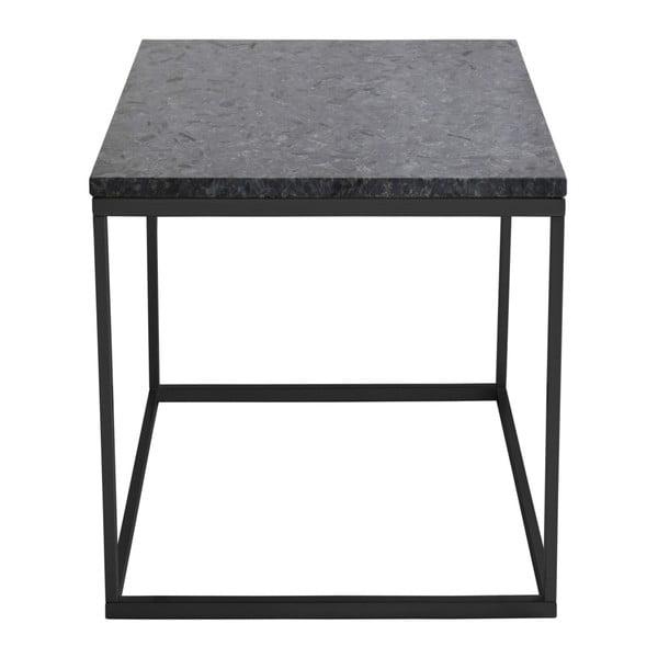 Čierny žulový odkladací stolík s čiernou podnožou RGE Accent, šírka 50 cm