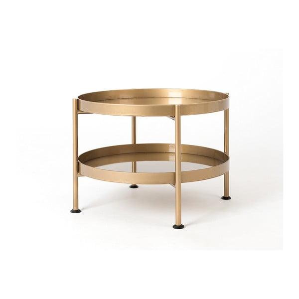 Konferenční ocelový stůl ve zlaté barvě s policí Custom Form Hanna, ⌀ 40 cm