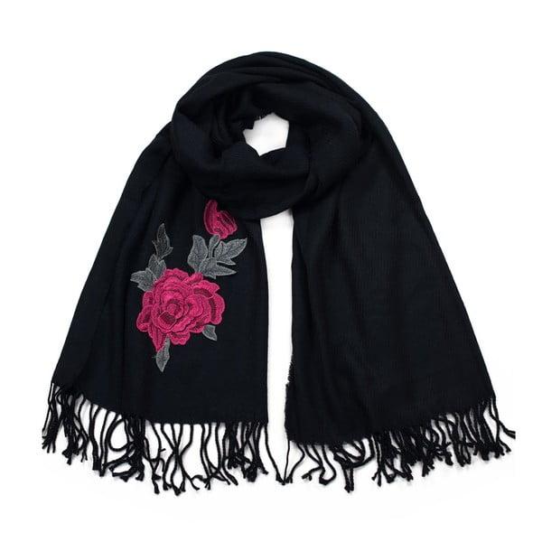 Černá šála Art of Polo Rose