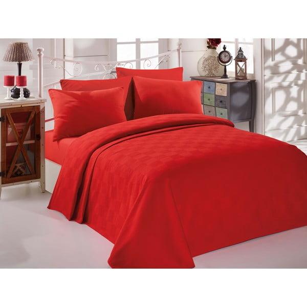 Set červeného bavlněného přehozu, prostěradla a povlaku na polštář na dvoulůžko EnLora Home InColor Red, 160 x 235 cm